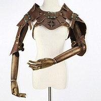 Corzzet High Quality Retro Brown Leather Armor Arm Bolero Cape Wraps Top Jacket Costume Warrior Steampunk Clothing (Brown One Size)