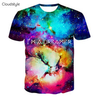 Alisister new fashion summer Women/Men galaxy t shirt print I AM DREAMER graphics t shirt top Clothes harajuku crewneck tshirt