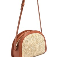 Straw Half-Moon Crossbody