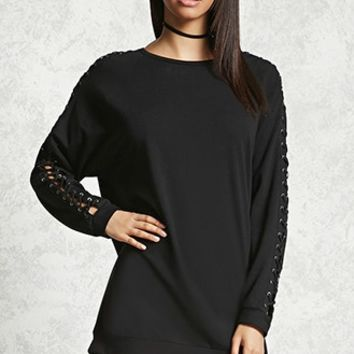 Lace-Up Raglan Pullover