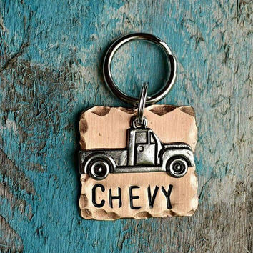 """Cat Tag, Dog Tag, Pet Tags, Animal Creations, Pet Accessories, Pet Supplies, ID Tags, """"Mater"""", Collar ID, Personalized, pickup, trucks"""