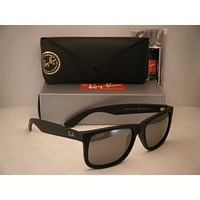Ray Ban 4165 Justin Rubber Black w Silver Mirror Lens (RB4165 622/6G 55mm size)
