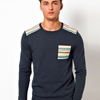 ASOS Patched Sweater - Denim