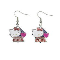 MLB Chicago Cubs Hello Kitty Diamond Dangler Earrings