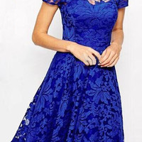Blue Floral Print Lace Summer Dress