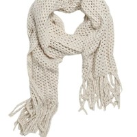 With Love From CA Popcorn Knit Fringe Scarf - Womens Scarves
