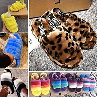 UGG High Quality Classic Women Multicolor Fur Flats Sandals Slippers Shoes-2