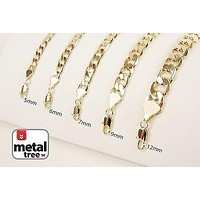 Jewelry Kay style Men's Hip Hop Heavy Cuban Link Chain 14kt Gold Plated 5 6 7 9 12 Width Necklace