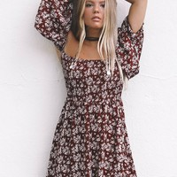 Just Stay Burgundy Smocked Open Shoulder Dress