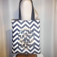 40% off SALE/CLEARANCE - Navy Blue Think Happy Be Happy Chevron Print Shopper Tote Bag