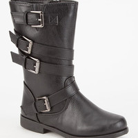 Yokids Allison Girls Strapped Boots Black  In Sizes