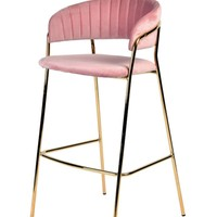 Modrest Brandy Modern Pink Fabric Bar Stool (Set of 2)