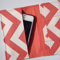 iphone Card Wallet - Cell Phone Case - Coral and White Zig Zag  Chevron