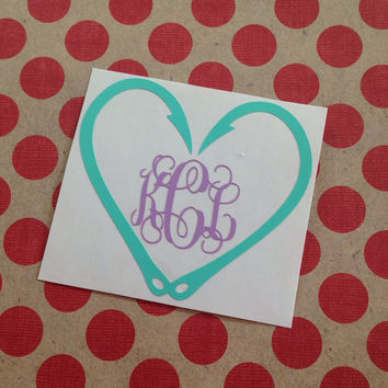 Fishhook Heart Decal   Southern   Hunting   Fishing   Country Living   Monogrammed   Personalized   Custom   Yeti   Girls Who Fish