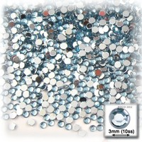 The Crafts Outlet 1440-Piece Flat Back Round Rhinestones, 3mm, Light Blue
