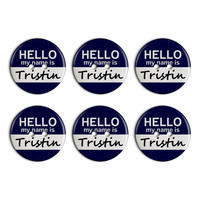 Tristin Hello My Name Is Plastic Resin Button Set of 6
