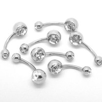 CrazyPiercing 10PCs 316L Surgical Grade Steel Rhinestone Belly Button Navel Ring Bar 23x8mm