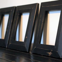 Set of Three Worn Pine Picture Frames Finished with Milk Paint of Your Choice