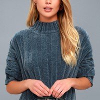 Cozy Kickback Teal Blue Chenille Cropped Sweater