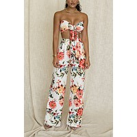 fhotwinter19 new ladies sexy print lace-up tube top trousers two-piece suit