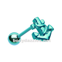 Teal Colorline Anchor Steel Barbell Tongue Ring 14ga Surgical Steel