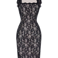 Womens Dresses Retro Vintage Women Sleeveless Square Neck Club Pub Dress Pencil Dress Club Sexy Black Lace Pencil Dresses