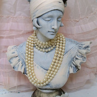 French lady bust statue shabby chic embellished pearl necklaces sculpture home decor by Anita Spero