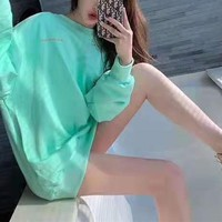 """""""Chrome Hearts"""" Women Casual Simple Zebra Mint Green Letter Logo Print Round Neck  Long Sleeve Sweater Tops"""