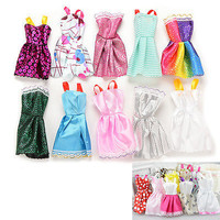 10 X Beautiful Handmade Party Clothes Fashion Dress for Barbie Doll Mixed Lovely