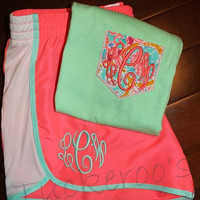 Women's running shorts and faux pocket tee, gym set