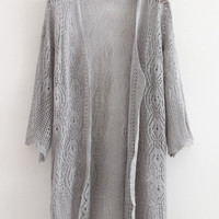 Gray Loose Knitted Cardigan