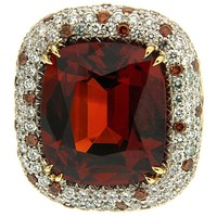 Mandarin Garnet Pave white and Scattered Cognac Diamond Gold Cocktail Ring