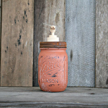 Mason Jar Soap Dispenser - Distressed, Shabby Chic, Country, Cottage Home Decor