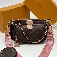 LV Louis Vuitton Hot Three-piece Set Fashion Lady Messenger Bag Chain Bag Coin Purse 2