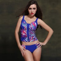 Ladies high quality tankini set, women's top and briefs swimwear set, floral printed bathing suit, free shipping