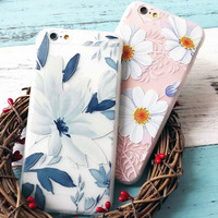 """New Arrival Ultrathin Cartoon Flower Case for iphone 6 6S Plus 6Plus 4.7/5.5"""" Floral Daisy Plants Pattern Phone Cases Cover Capa"""