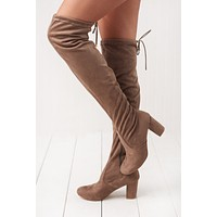 Arlene Over The Knee Boots (Taupe)