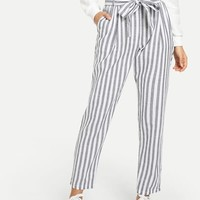 Vertical Striped Frill Belted Pants