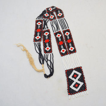 "Vintage Native American Necklace, Hand Beaded, Red, Black and White Geometric Design, 24"" Statement Necklace"