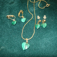 Malachite Necklace and 2 sets Earrings Gold Tone