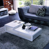 Modern White Coffee Table W/ TV stand