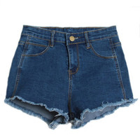 Women's Slim Fit Comfortable High Waisted Blue Denim Jeans Shorts