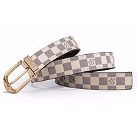 LV Louis Vuitton New Fashion Monogram Check Leather Women Men Belt White