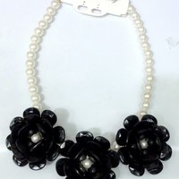 New Black Floral Pearl Statement Necklace Private Label one size by Alisha's Fashion ~MAKE ME AN OFFER~