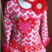 Valentine's Toddler Dress - skirt - Valentine's Photos - Hearts - Headband  - Valentine's Outfit -  Tutu -  Photos - pageant