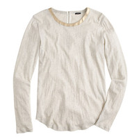 J.Crew Womens Painter Tee With Leather Trim