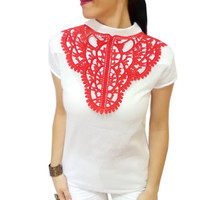 Red Christmas lace statement bib necklace, Gothic, Fashion Blogger, FREE SHIP, For her, Beauty Of The Night Necklace