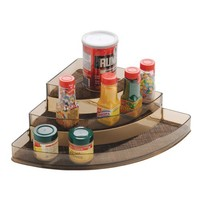 InterDesign Twillo Spice Rack, Corner Organizer for Kitchen Pantry, Cabinet, Countertops - Bronze/Sand