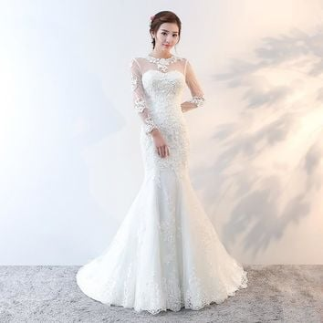 Holievery Lace Appliques Mermaid Wedding Dresses with Long Sleeves 2019 Sheer Neck Vintage Wedding Gowns Open Back