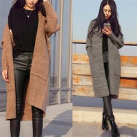 Women's Clothing 2018 Spring Autumn Winter Single Breasted Cashmere Knitted Long Cardigans Sweaters Coat Women